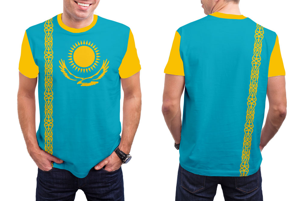 Kazakhstan Men's T-Shirt. Show your Olympic Pride in the Nostalgic Prints Nations Collection.  Styled to Please Supima Cotton Fabric Pre-Shrunk Fabric