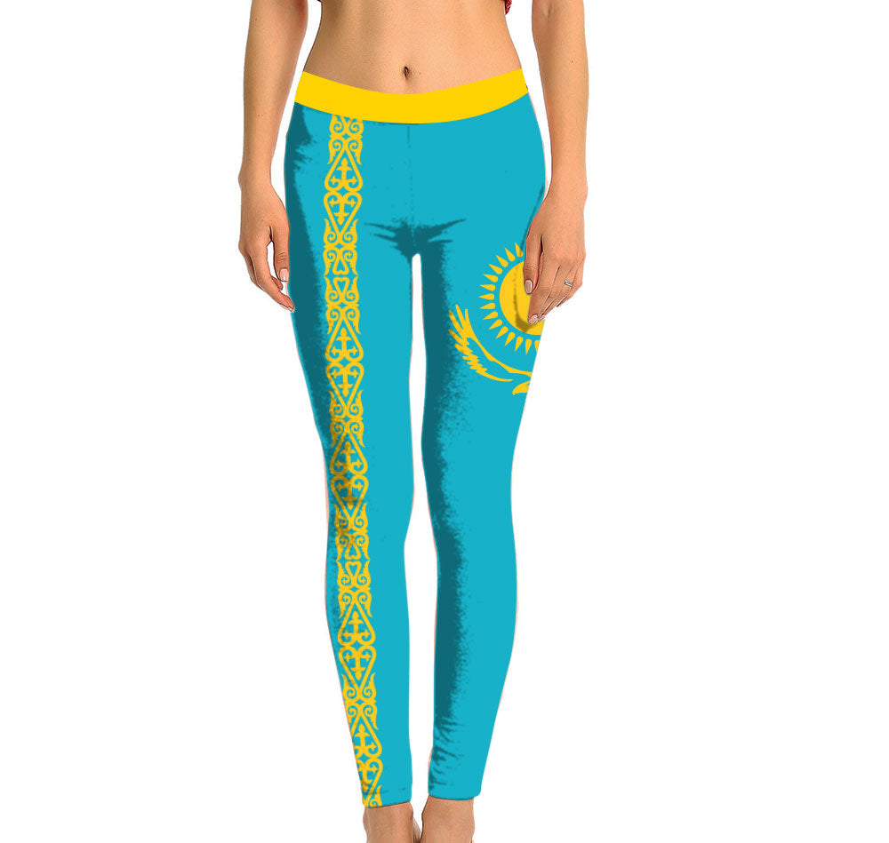 Kazakhstan Full Length Leggings. Show your Olympic Pride in the Nostalgic Prints Nations Collection. Made with fabric milled from recycled plastic bottles.  Super Soft Ultra Light Eco-Fabric Sustainable Activewear Ultra flattering wide waistband Durable flatlock stitching