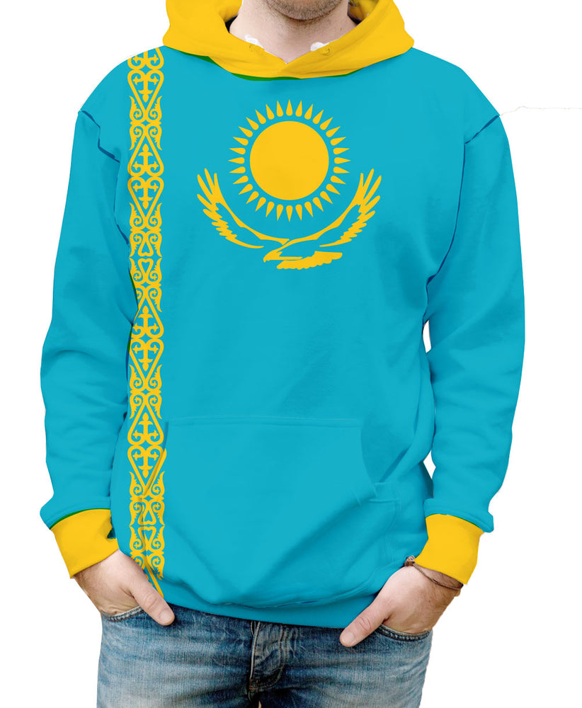 Kazakhstan Hooded Sweatshirt. Show your Olympic Pride in the Nostalgic Prints Nations Collection.  Warm & Soft 100% Premium Microfiber Polyester HD All-Over Graphic Print Pre-Shrunk Fabric