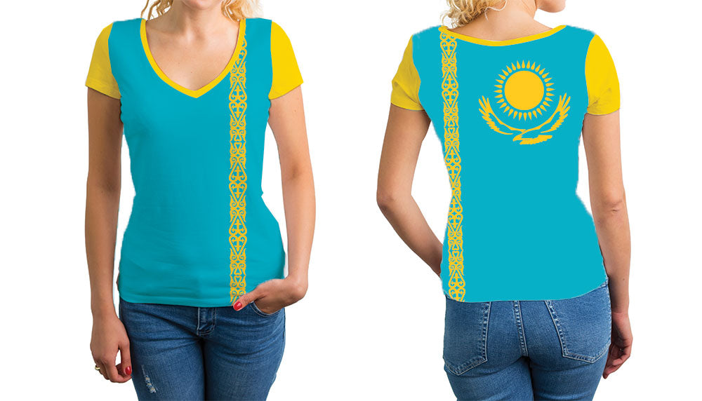 Kasakhstan Women's V-Neck T-Shirt. Show your Olympic Pride in the Nostalgic Prints Nations Collection.  Relaxed Fit V-Neck T-Shirt Styled to Please Supima Cotton Fabric Pre-Shrunk Fabric