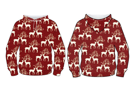 Front and Back design of the Nostalgic Prints Kissing Reindeer Pattern.