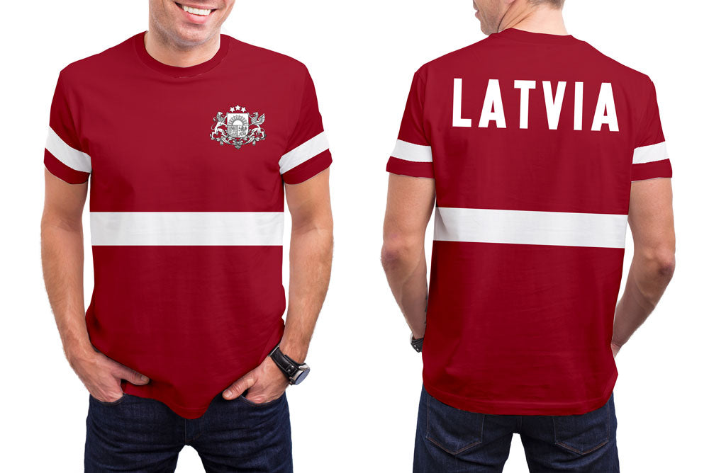 Latvia Men's T-Shirt. Show your Olympic Pride in the Nostalgic Prints Nations Collection.  Styled to Please Supima Cotton Fabric Pre-Shrunk Fabric