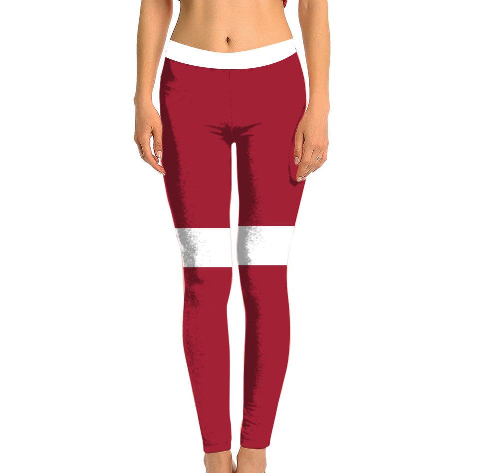Latvia Full Length Leggings. Show your Olympic Pride in the Nostalgic Prints Nations Collection. Made with fabric milled from recycled plastic bottles.  Super Soft Ultra Light Eco-Fabric Sustainable Activewear Ultra flattering wide waistband Durable flatlock stitching