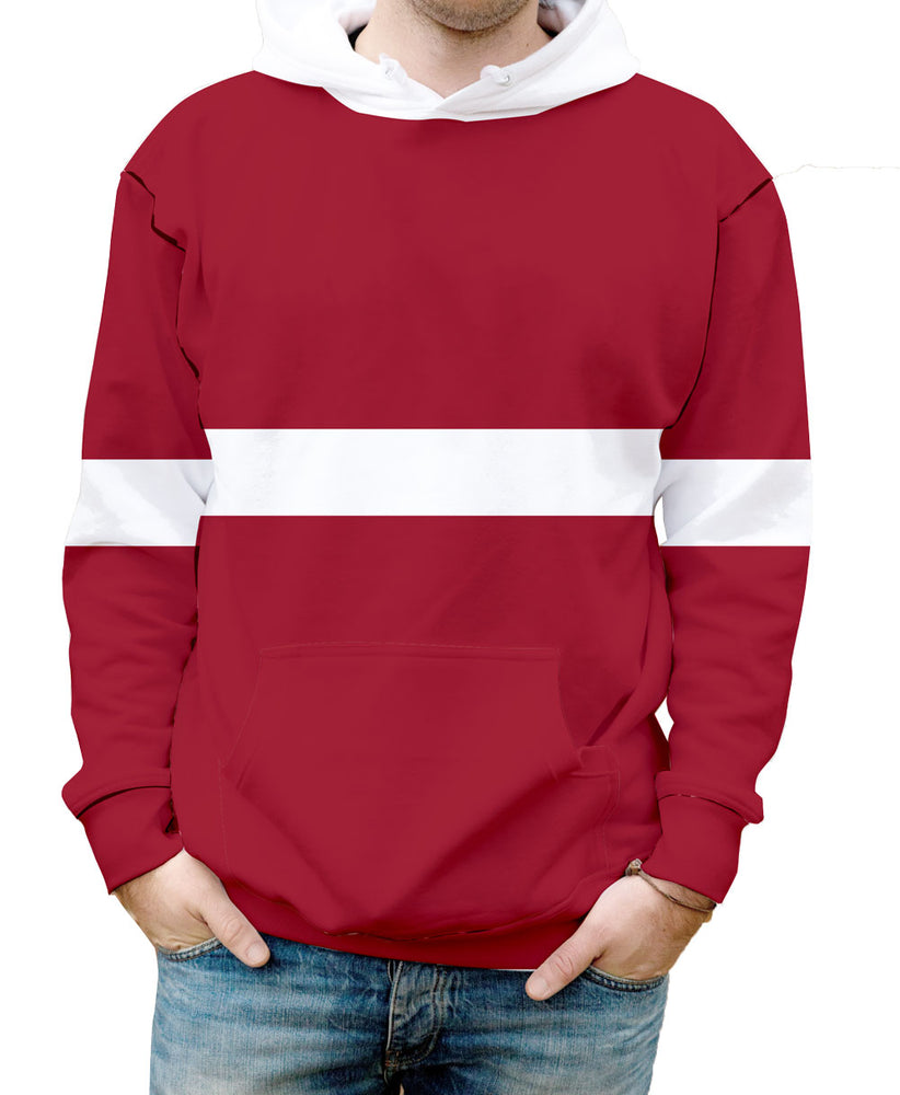 Latvia Hooded Sweatshirt. Show your Olympic Pride in the Nostalgic Prints Nations Collection.  Warm & Soft 100% Premium Microfiber Polyester HD All-Over Graphic Print Pre-Shrunk Fabric