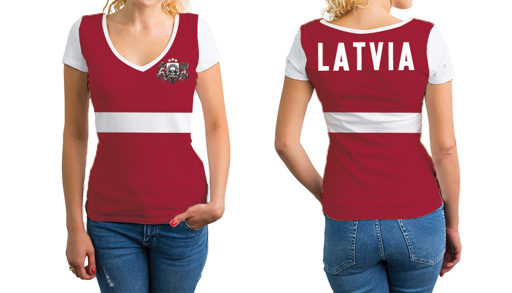 Latvia Women's V-Neck T-Shirt. Show your Olympic Pride in the Nostalgic Prints Nations Collection.  Relaxed Fit V-Neck T-Shirt Styled to Please Supima Cotton Fabric Pre-Shrunk Fabric