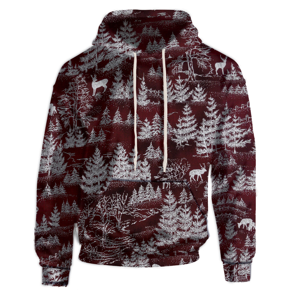 Hooded sweatshirt with a subtle snow kissed forest print. Dark Red layered below snow silhouette pine trees, reindeer, and moose.