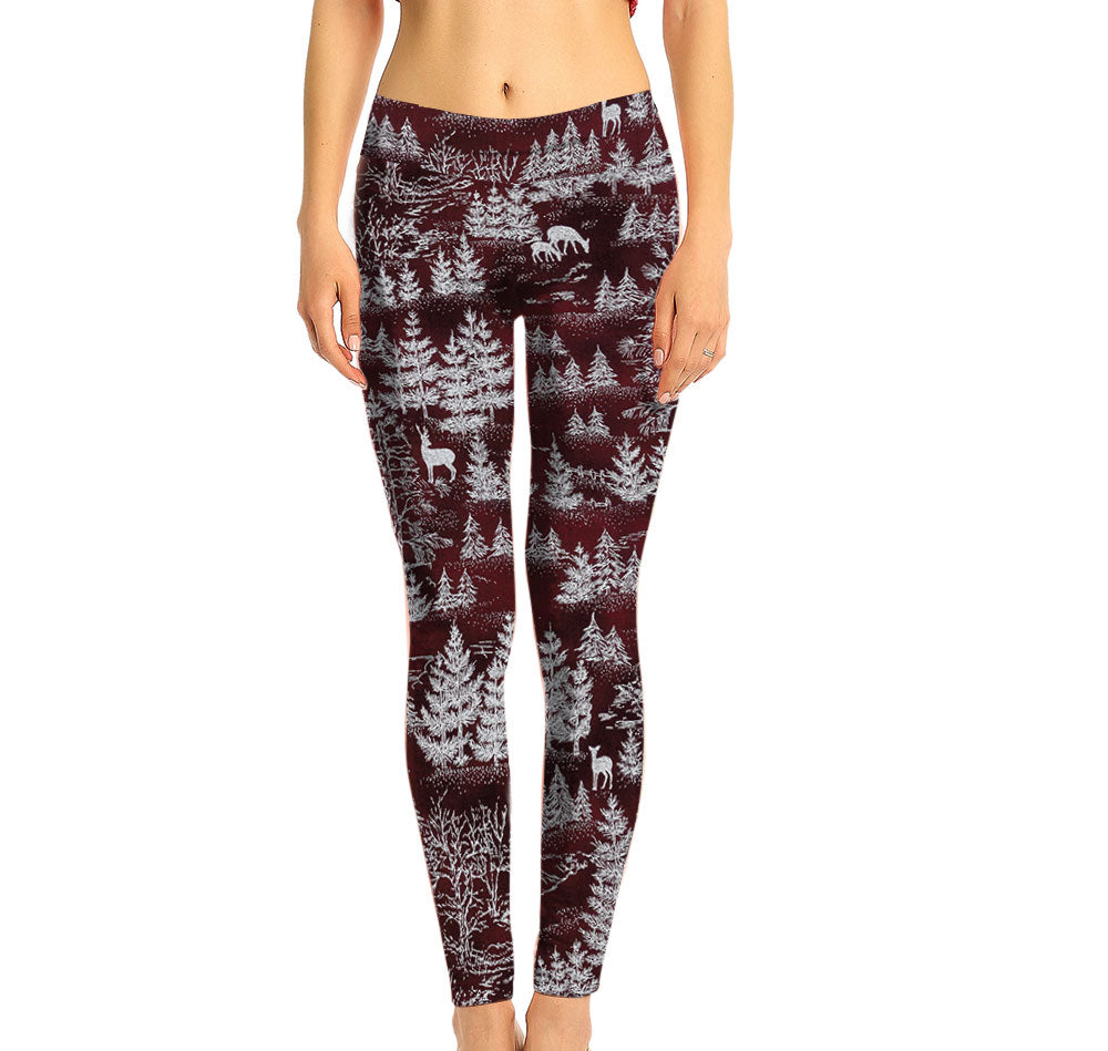 Red Leggings with a subtle Snowy Forest Pattern.