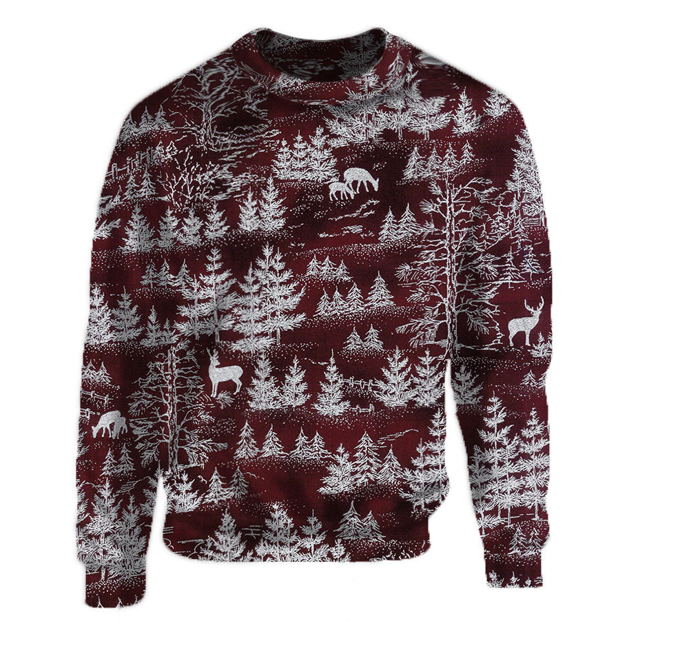 Burgundy Dark Red Christmas Holiday Winter Printed Crew Neck Sweatshirt.