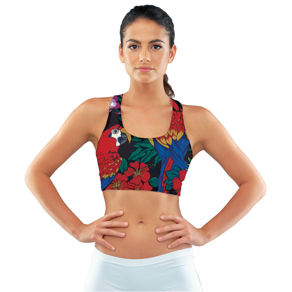 Scarlet Macaw Hawaiian Racerback Sports Bra made with our sustainable Ultra Soft Eco-Fabric from recycled plastic. Engineered for the active lifestyle with a smooth cool feel.