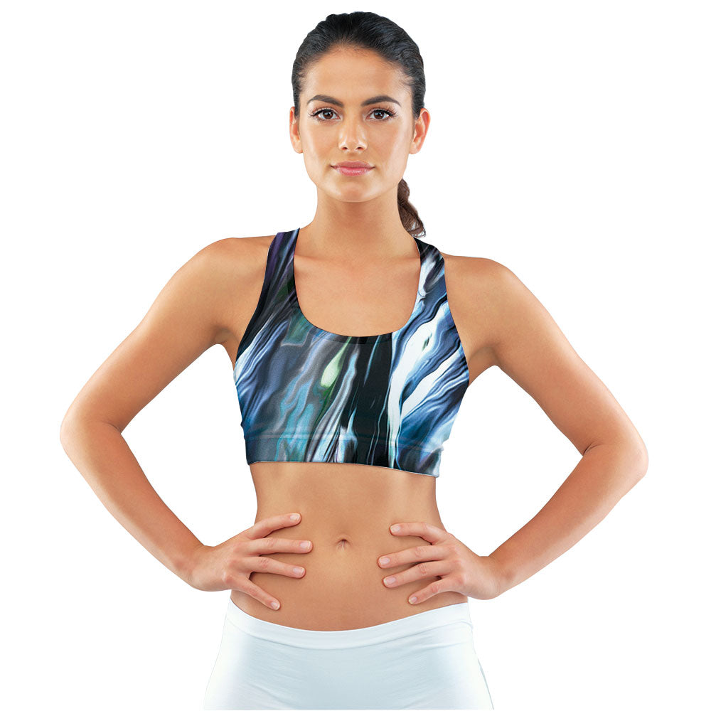 Moonstruck Racerback Sports Bra made with our sustainable Ultra Soft Eco-Fabric from recycled plastic. Engineered for the active lifestyle with a smooth cool feel.