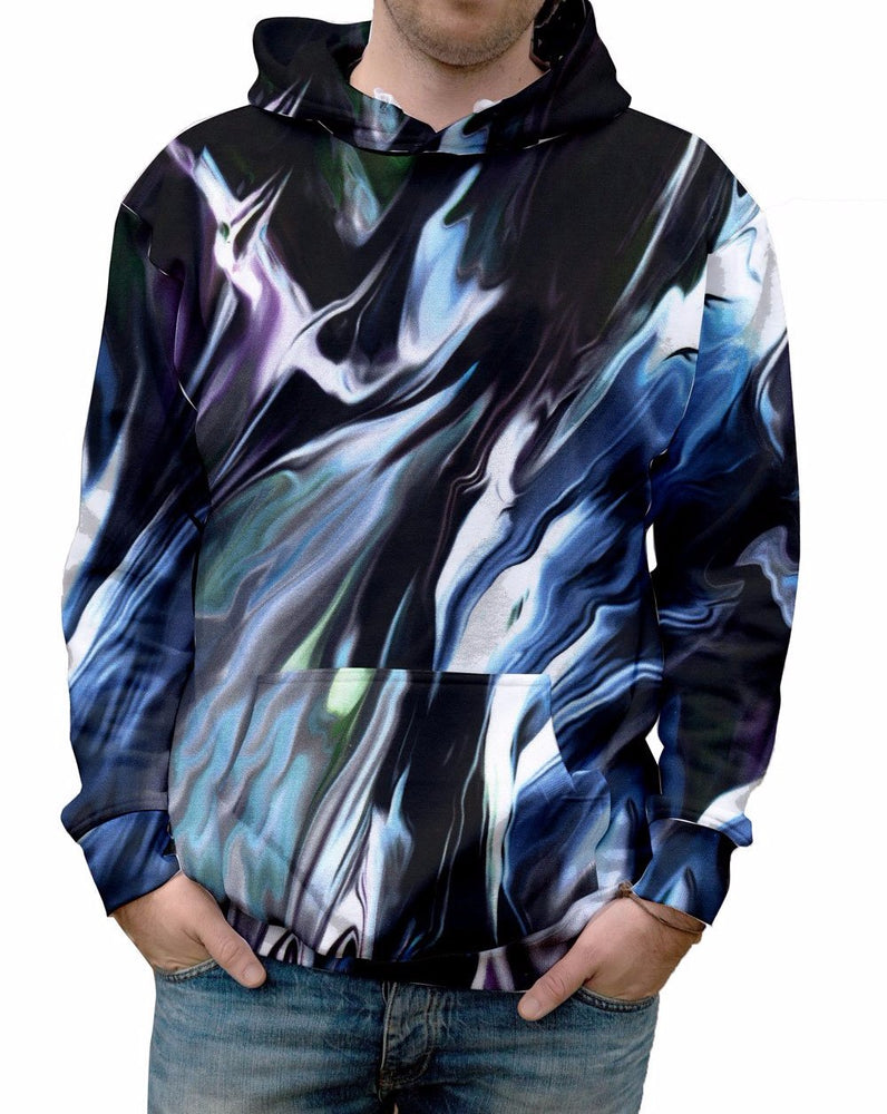 Nostalgic Prints Moonstruck all over print vibrant multi-colored hooded sweatshirt.  Warm & Soft 100% Premium Microfiber Polyester