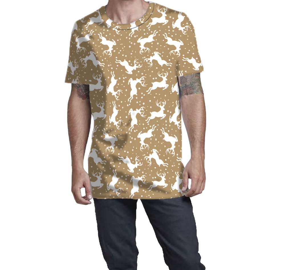Supima Cotton White Reindeer pattern fitted t-shirt on tan background.