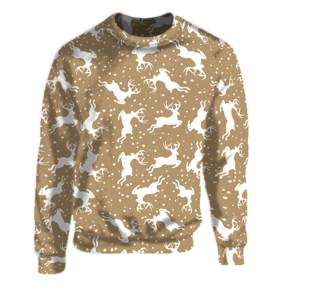 Tan Crew Neck Sweatshirt with unique reindeer pattern.