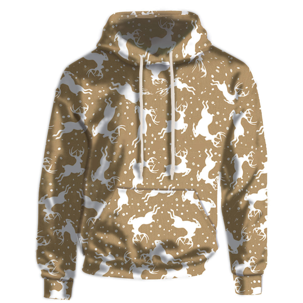 Fun tan and white pattern on a soft fabric hoodie. Supima Cotton Fabric