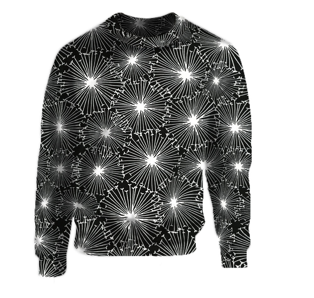 Happy New Year in the Black Starburst Pattern Crew Neck Sweatshirt.