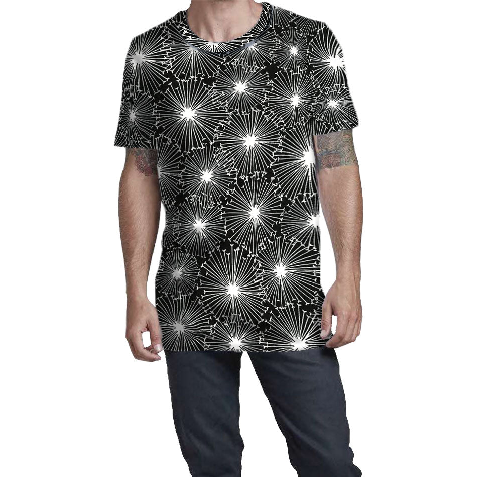 Starburst Black Print T-shirt. A timeless pattern that is ready for every party.