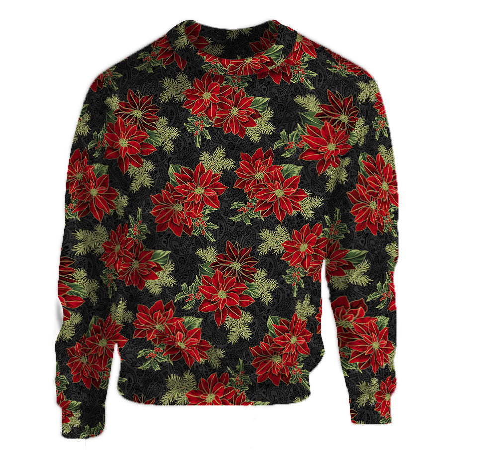Poinsettia Black Crew Neck Sweatshirt made with red poinsettia pattern.