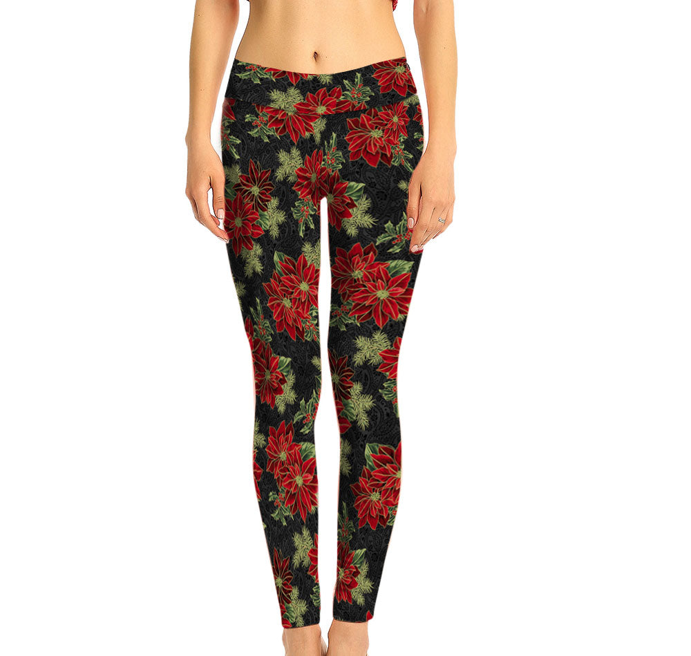 Black on Red Poinsettia Full Leg Leggings and Mid Rise waist.