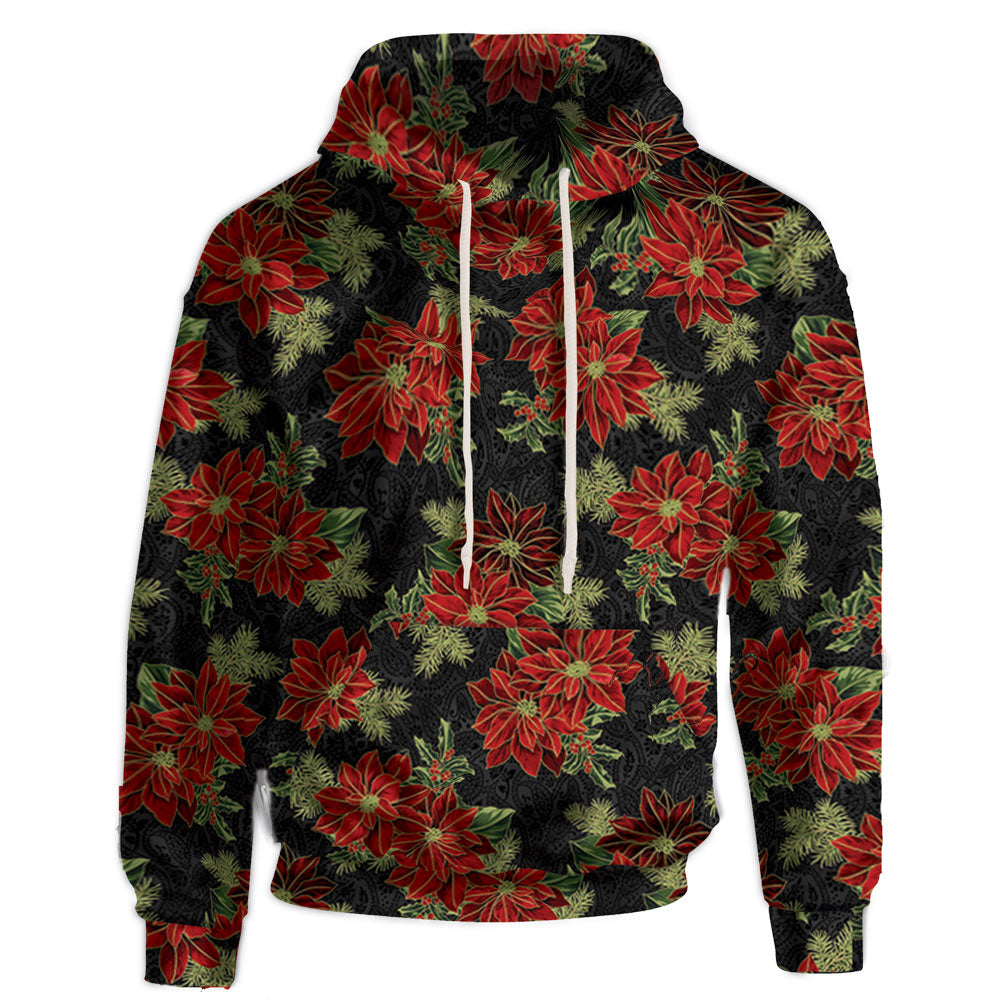 Poinsettia print black hooded sweatshirt.