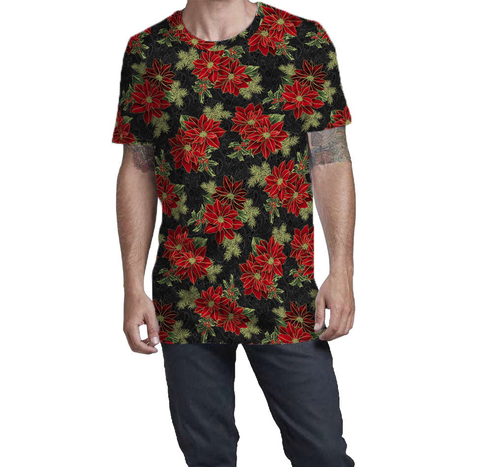 Poinsettia T-shirt with Black background. Fitted and soft feeling fabric.