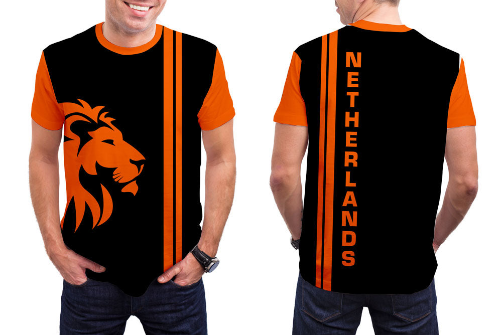 Netherlands Men's T-Shirt. Show your Olympic Pride in the Nostalgic Prints Nations Collection.  Styled to Please Supima Cotton Fabric Pre-Shrunk Fabric