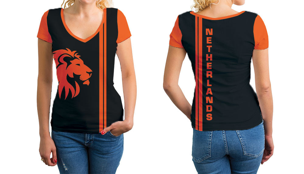 Netherlands Women's V-Neck T-Shirt. Show your Olympic Pride in the Nostalgic Prints Nations Collection.  Relaxed Fit V-Neck T-Shirt Styled to Please Supima Cotton Fabric Pre-Shrunk Fabric