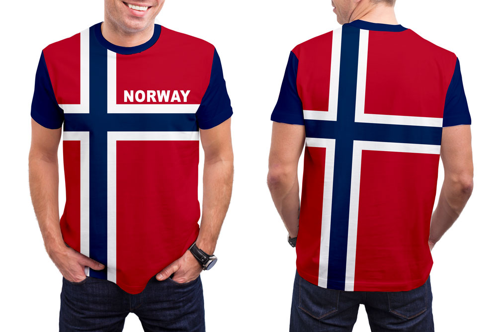 Norway Men's T-Shirt. Show your Olympic Pride in the Nostalgic Prints Nations Collection.  Styled to Please Supima Cotton Fabric Pre-Shrunk Fabric