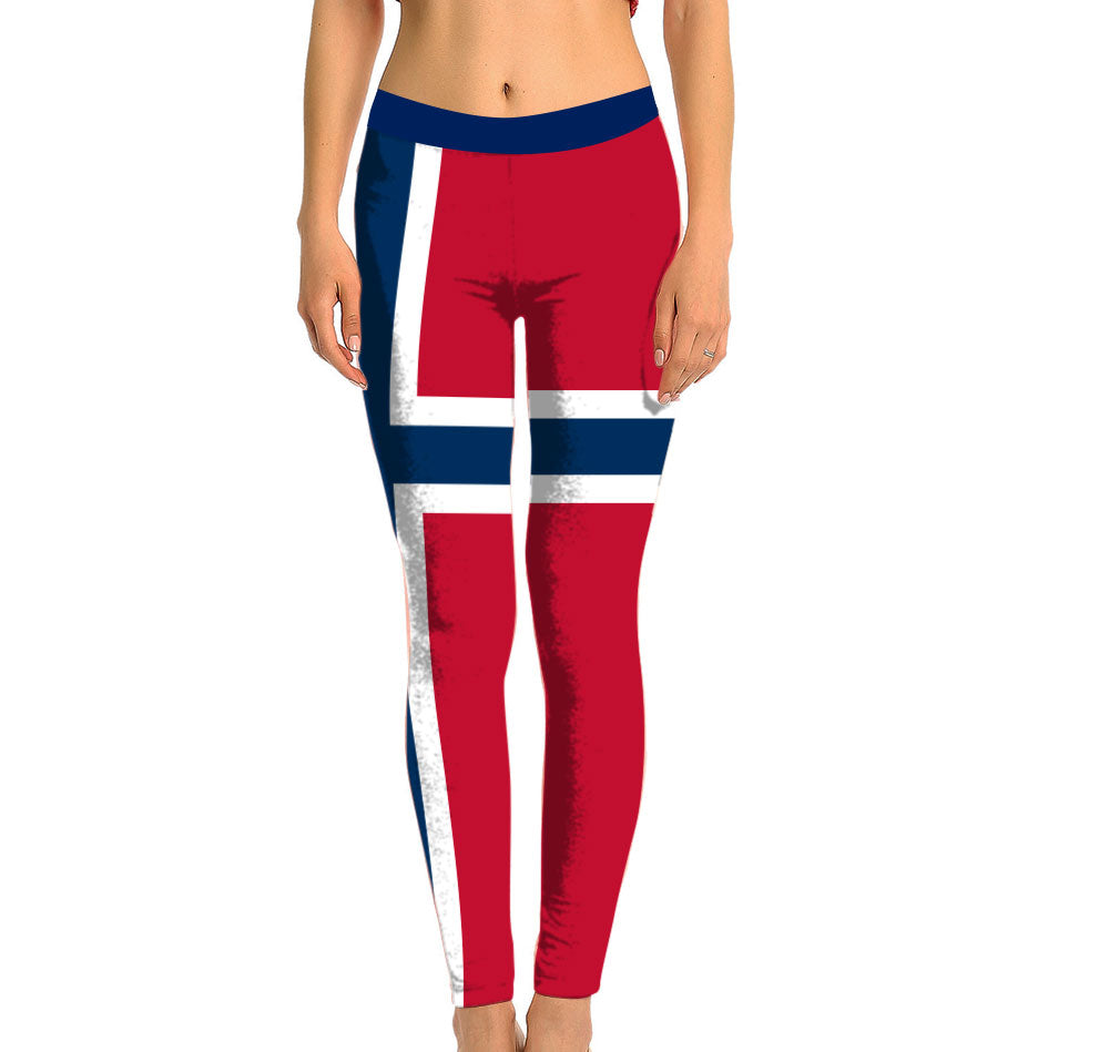 Norway Full Length Leggings. Show your Olympic Pride in the Nostalgic Prints Nations Collection. Made with fabric milled from recycled plastic bottles.  Super Soft Ultra Light Eco-Fabric Sustainable Activewear Ultra flattering wide waistband Durable flatlock stitchi
