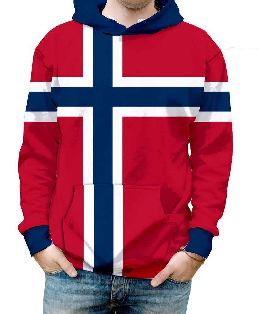 Norway Hooded Sweatshirt. Show your Olympic Pride in the Nostalgic Prints Nations Collection.  Warm & Soft 100% Premium Microfiber Polyester HD All-Over Graphic Print Pre-Shrunk Fabric