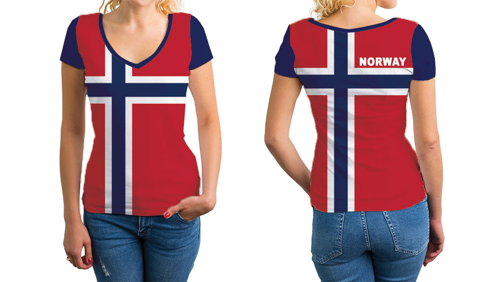 Norway Women's V-Neck T-Shirt. Show your Olympic Pride in the Nostalgic Prints Nations Collection.  Relaxed Fit V-Neck T-Shirt Styled to Please Supima Cotton Fabric Pre-Shrunk Fabric