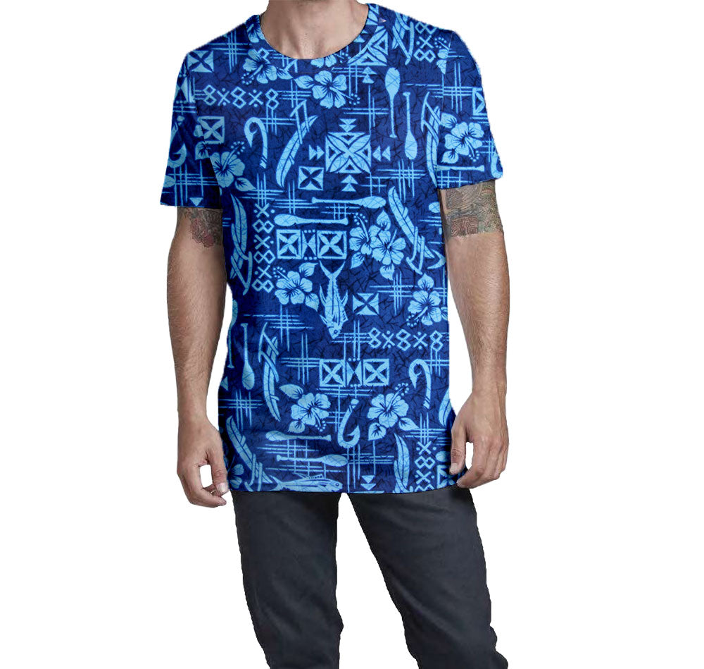 Outrigger Fisherman Hawaiian Nostalgic Print Men's T-Shirt  Elongated Slender Length Styled to Please Supima Cotton Fabric