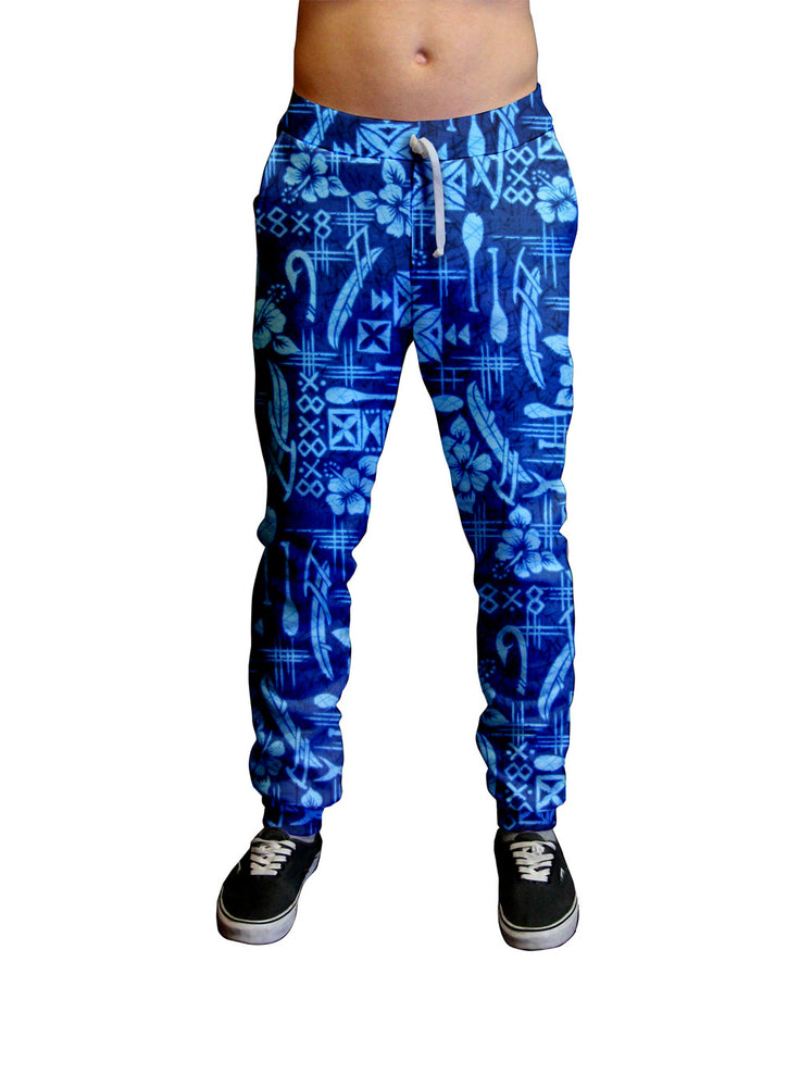 Outrigger Fisherman Hawaiian Print Unisex Jogger.  Moisture Wicking Tapered Leg Pockets Soft Fleece Fabric Sturdy draw cord waistband