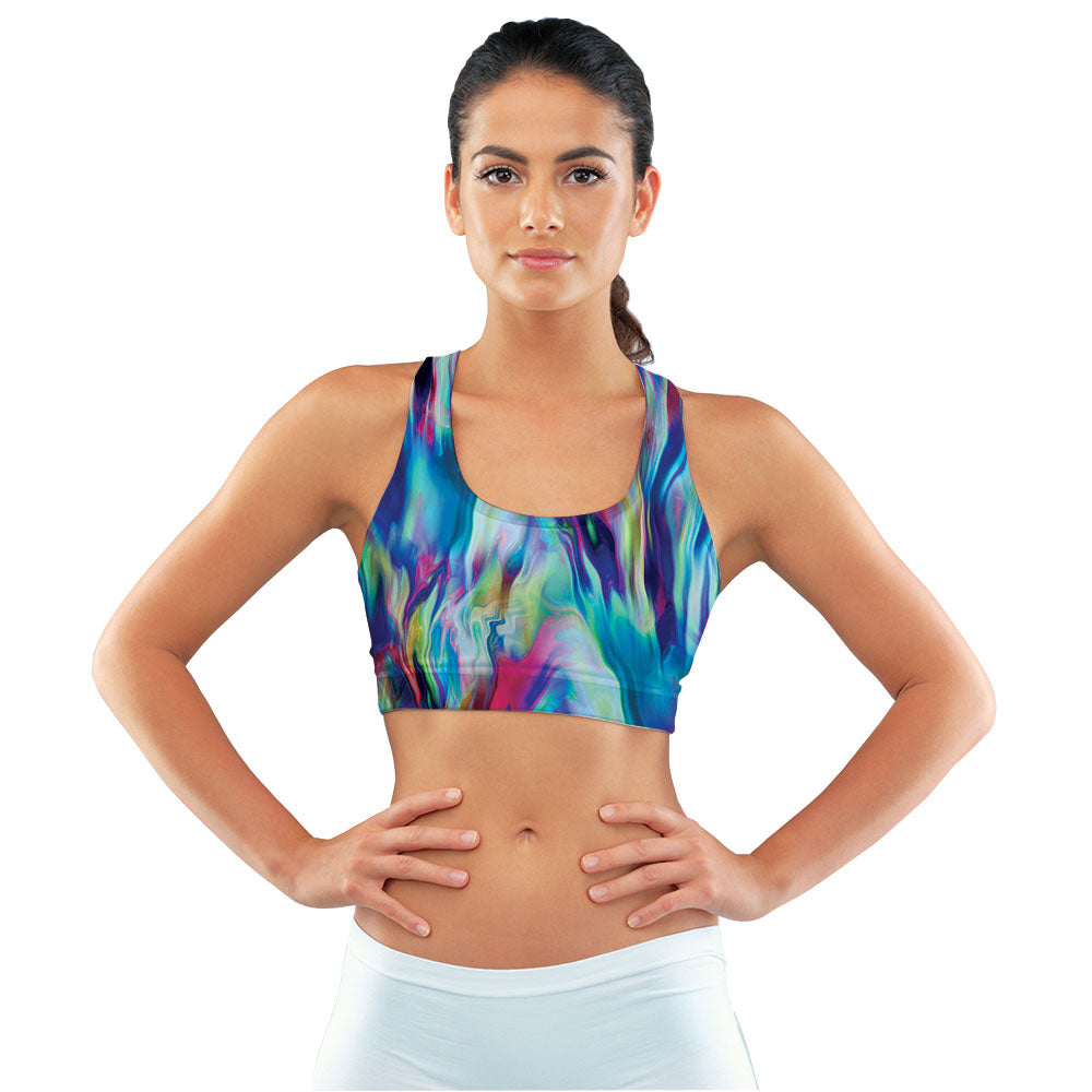 Vibrant Paint Pour Racerback Sports Bra made with our sustainable Ultra Soft Eco-Fabric from recycled plastic. Engineered for the active lifestyle with a smooth cool feel.
