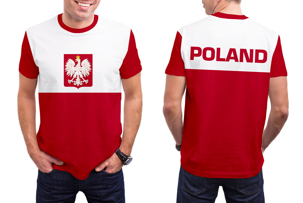 Poland Men's T-Shirt. Show your Olympic Pride in the Nostalgic Prints Nations Collection.  Styled to Please Supima Cotton Fabric Pre-Shrunk Fabric