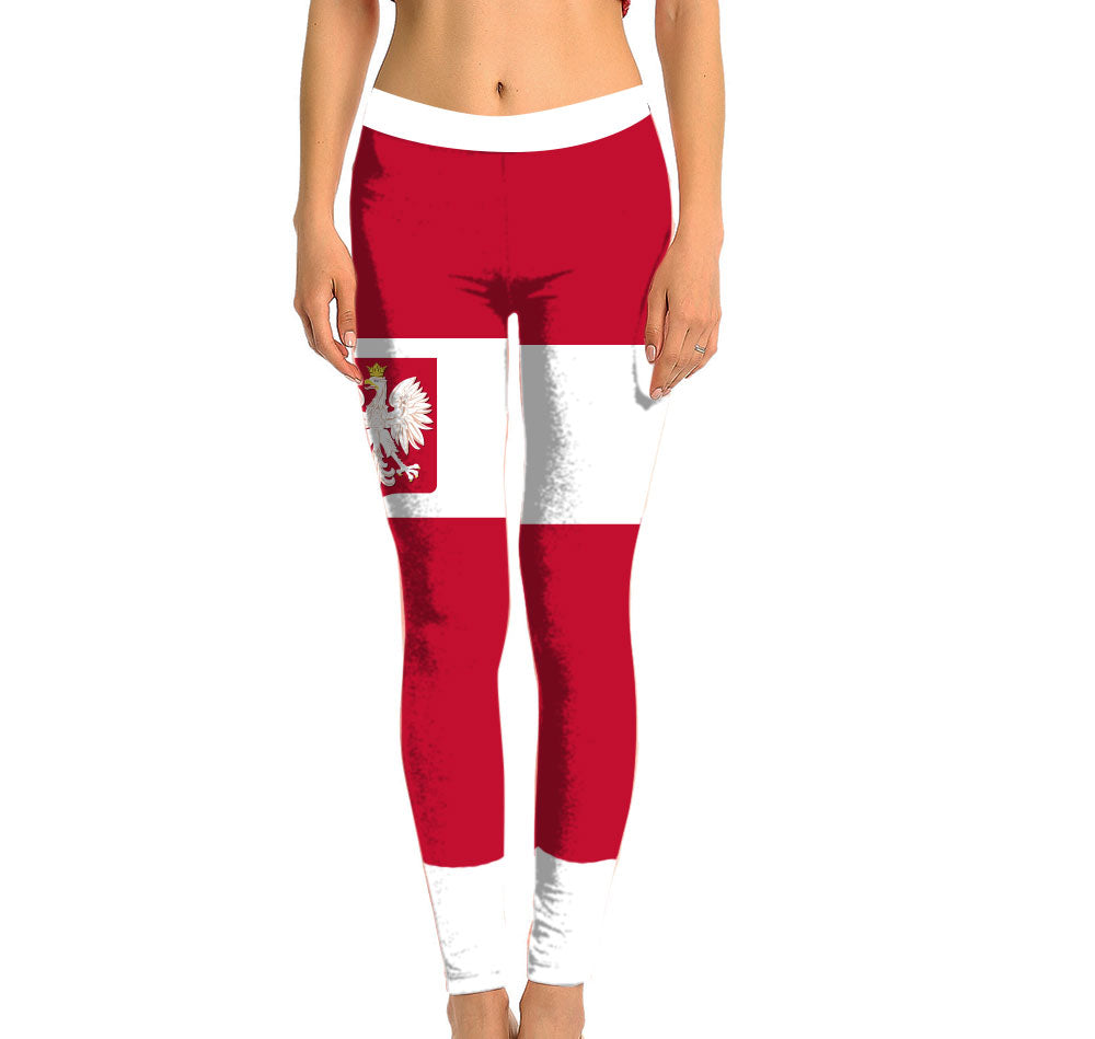 Poland Full Length Leggings. Show your Olympic Pride in the Nostalgic Prints Nations Collection. Made with fabric milled from recycled plastic bottles.  Super Soft Ultra Light Eco-Fabric Sustainable Activewear Ultra flattering wide waistband Durable flatlock stitching