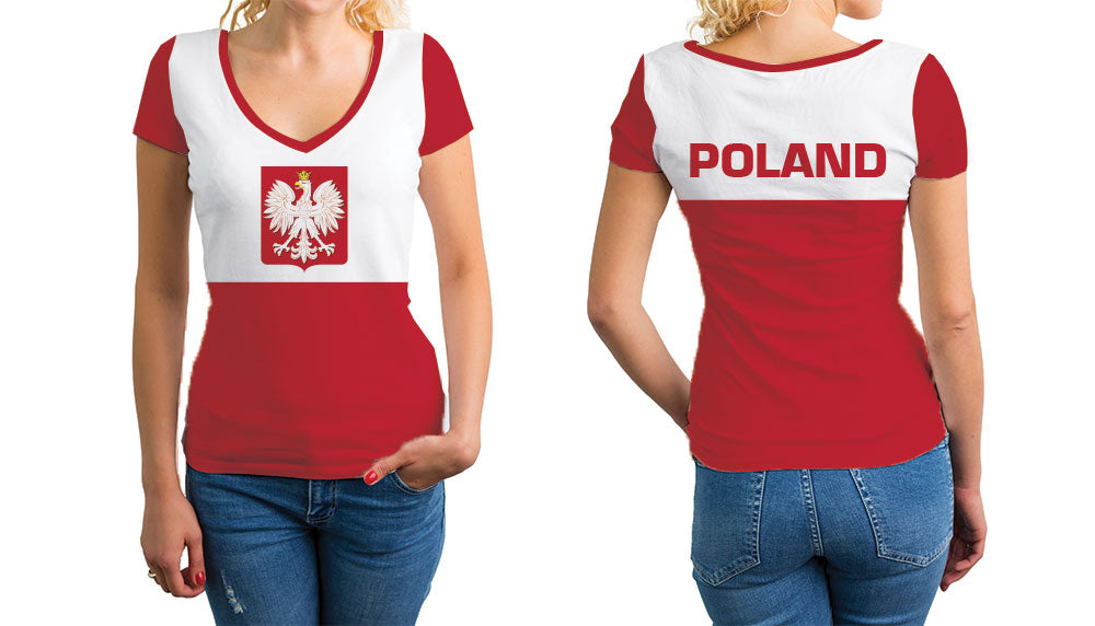 Poland Women's V-Neck T-Shirt. Show your Olympic Pride in the Nostalgic Prints Nations Collection.  Relaxed Fit V-Neck T-Shirt Styled to Please Supima Cotton Fabric Pre-Shrunk Fabric