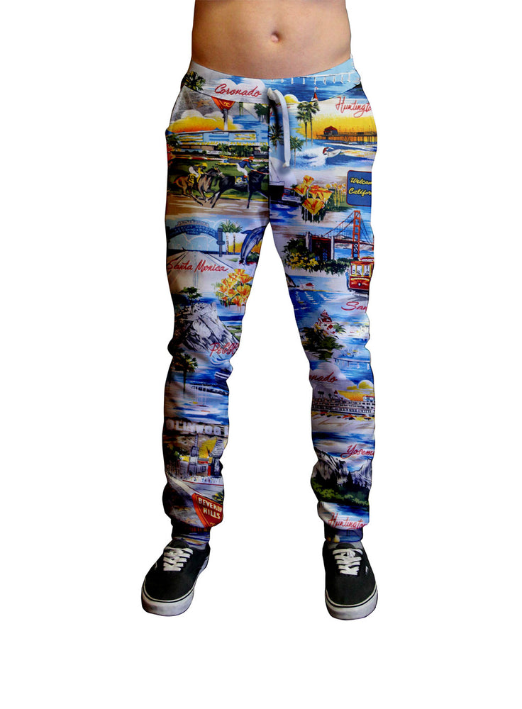 California Postcard Print Unisex Jogger.  Moisture Wicking Tapered Leg Pockets Soft Fleece Fabric Sturdy draw cord waistband