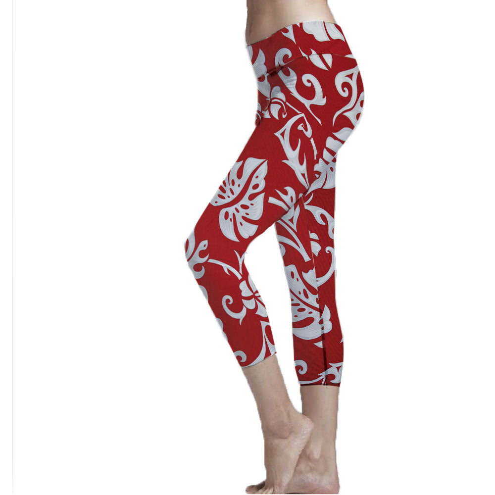 Elephant Leaf Hawaiian Print Cropped Leggings made with recycle plastic bottle polyester fabric.  Super Soft Ultra Light Eco-Fabric Mid Shin Length Cropped Leggings Sustainable Activewear Ultra flattering wide waistband