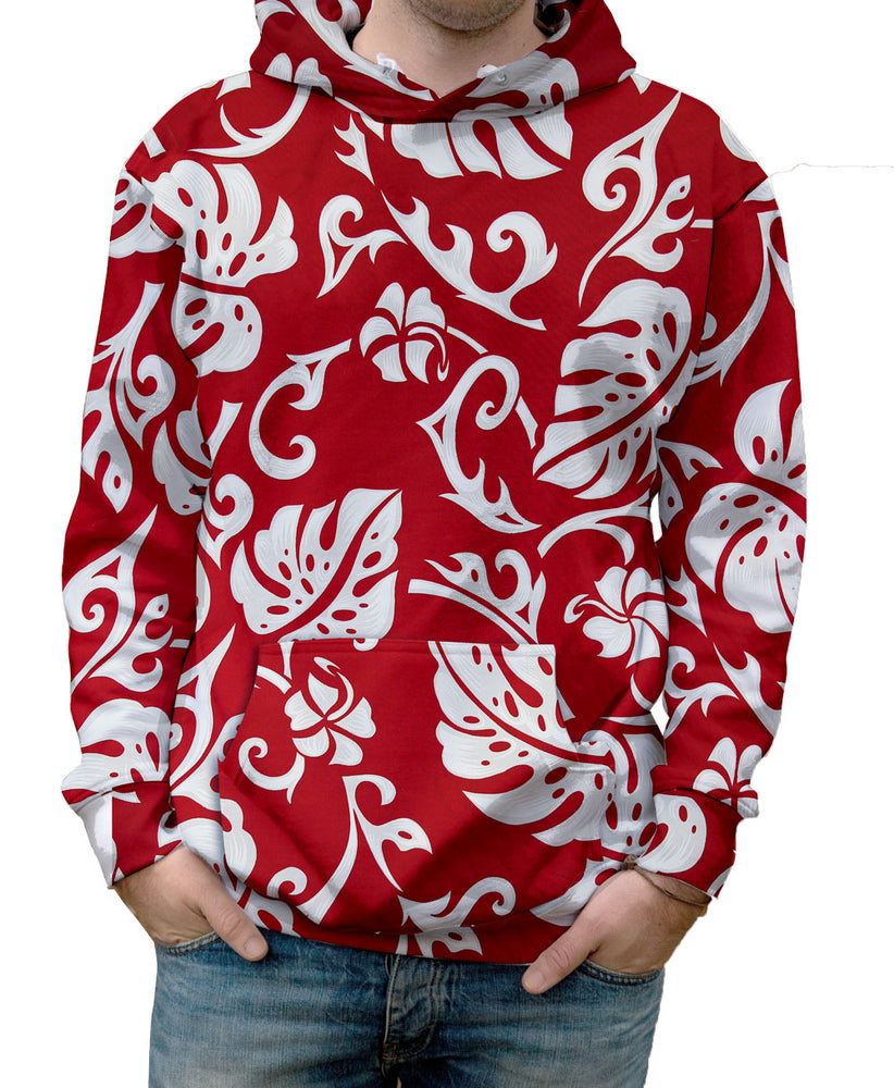 Nostalgic Prints Elephant Leaf Red Hawaiian Print all over print vibrant multi-colored hooded sweatshirt.