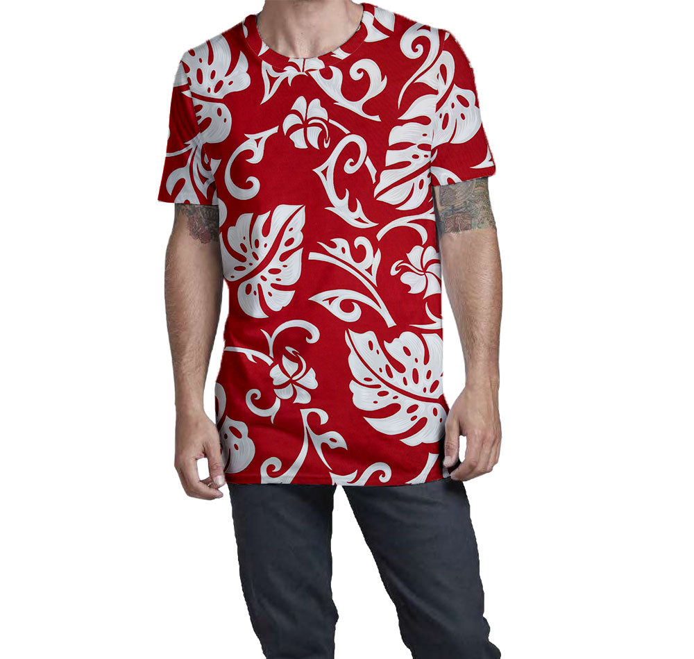 Elephant Leaf Red Hawaiian Nostalgic Print Men's T-Shirt  Elongated Slender Length Styled to Please Supima Cotton Fabric