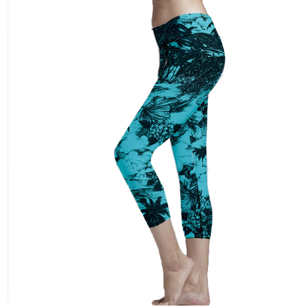 Aqua Colored Hawaiian Print Legging made with sustainable fabric that performs well for the active lifestyle.