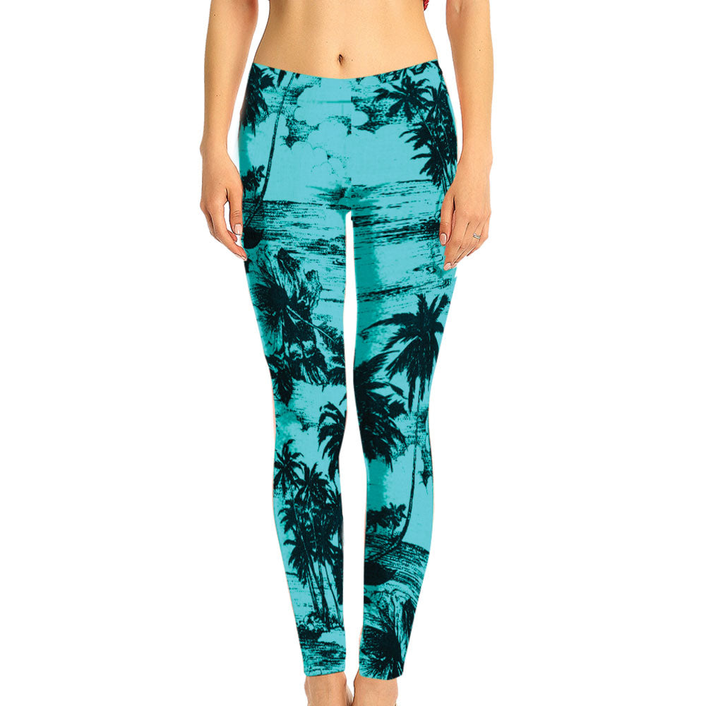 Aqua and Navy Floral Hawaiian Print Leggings