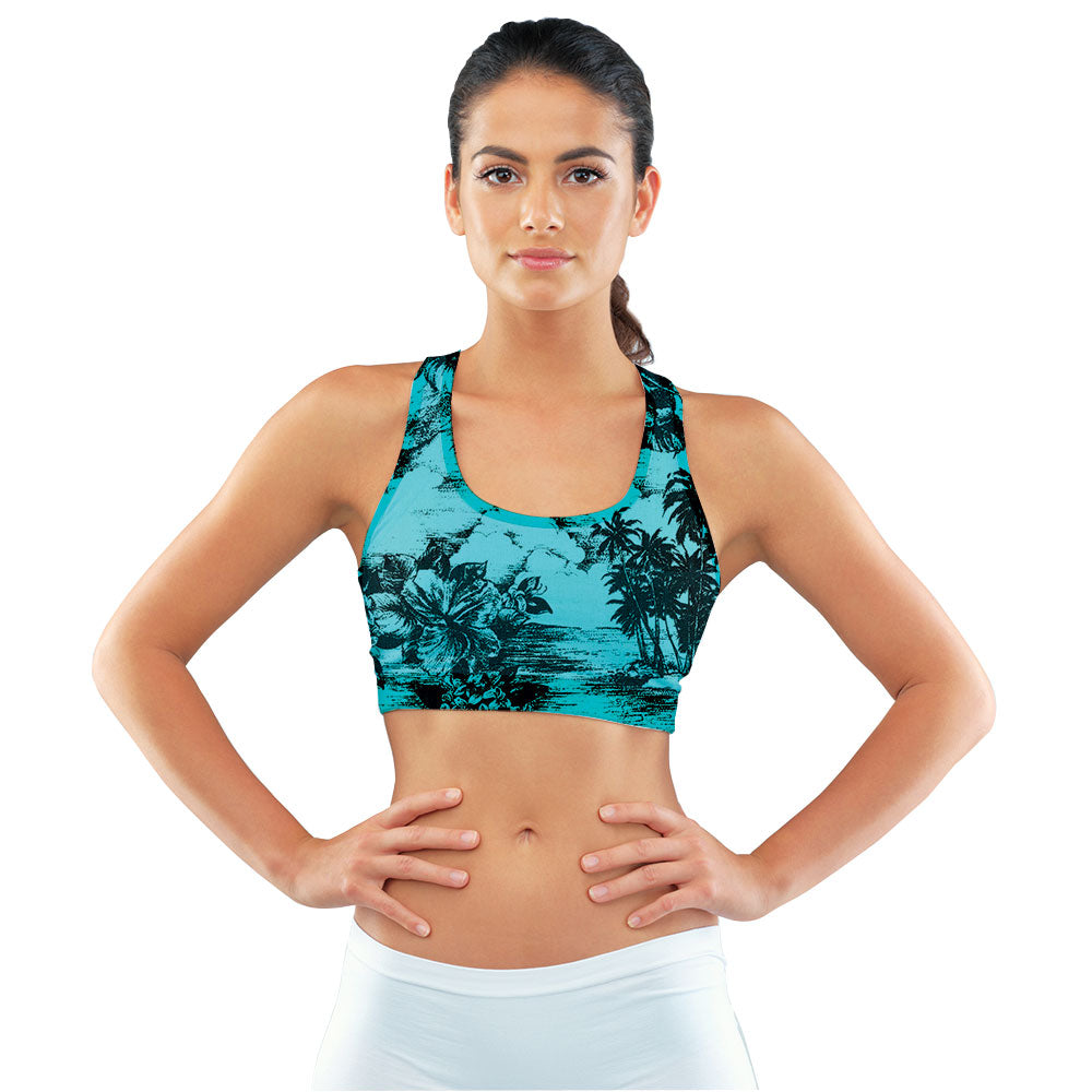 Retro Aqua Hawaiian Racerback Sports Bra made with our sustainable Ultra Soft Eco-Fabric from recycled plastic. Engineered for the active lifestyle with a smooth cool feel.