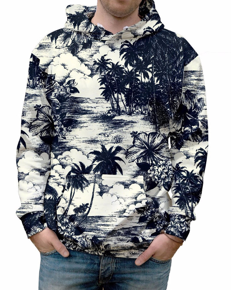 Antiqued Hawaiian Print Pullover Hooded Sweatshirt