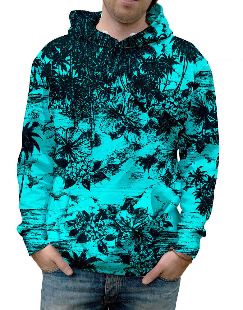 Antiqued Floral Black and Aqua Hawaiian Print Hoodie. Warm & Soft 100% Premium Microfiber Polyester