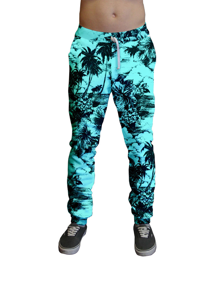 Retro Aqua Hawaiian Print Unisex Jogger.  Moisture Wicking Tapered Leg Pockets Soft Fleece Fabric Sturdy draw cord waistband