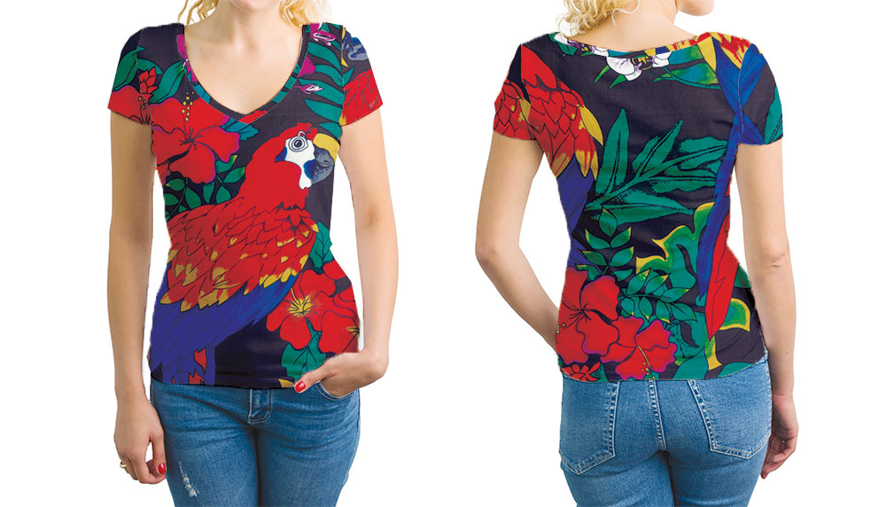V-Neck Womens T-shirt with Floral Print Scarlet Macaw