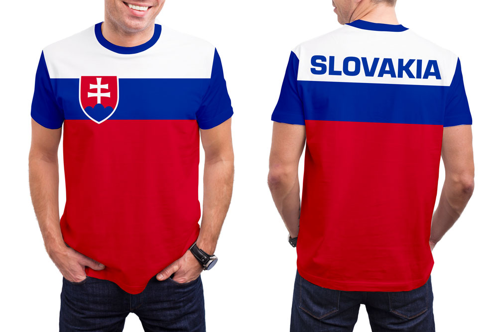 Slovakia Men's T-Shirt. Show your Olympic Pride in the Nostalgic Prints Nations Collection.  Styled to Please Supima Cotton Fabric Pre-Shrunk Fabric