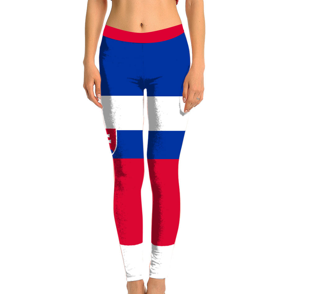 Slovakia Full Length Leggings. Show your Olympic Pride in the Nostalgic Prints Nations Collection. Made with fabric milled from recycled plastic bottles.  Super Soft Ultra Light Eco-Fabric Sustainable Activewear Ultra flattering wide waistband Durable flatlock stitching