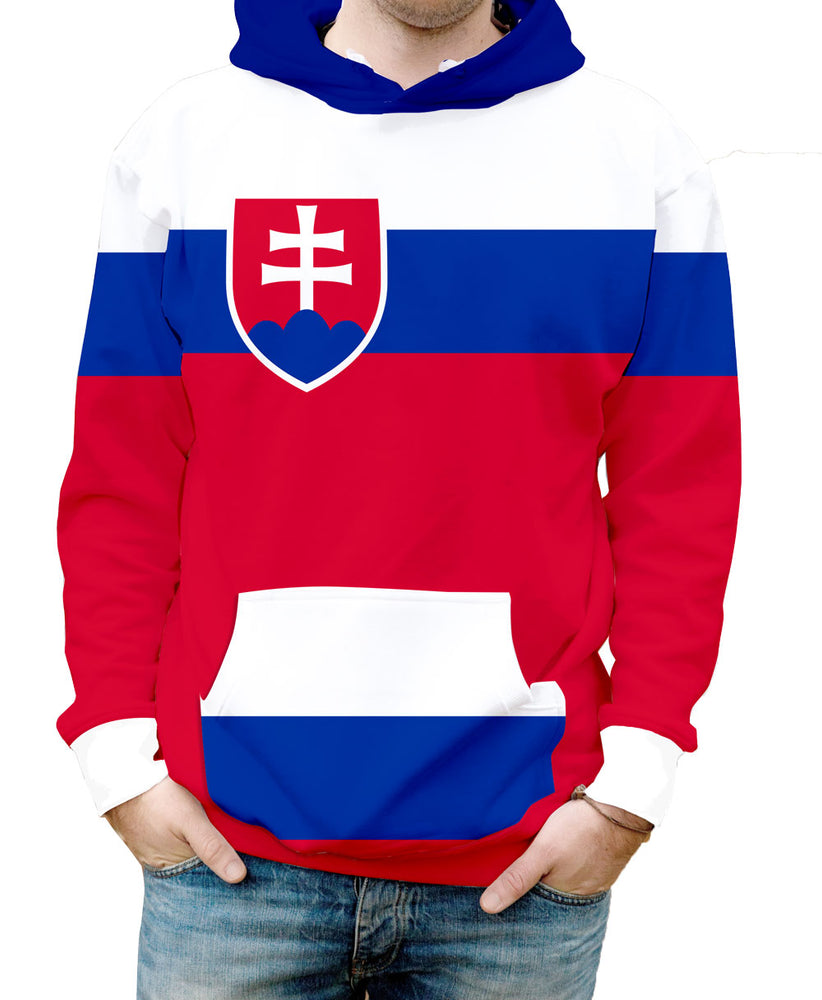 Slovakia Hooded Sweatshirt. Show your Olympic Pride in the Nostalgic Prints Nations Collection.  Warm & Soft 100% Premium Microfiber Polyester HD All-Over Graphic Print Pre-Shrunk Fabric
